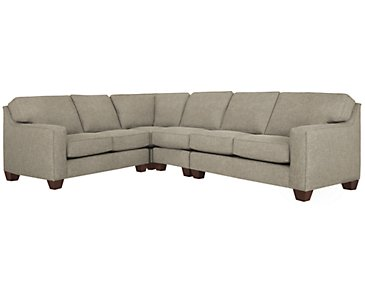 York Pewter Fabric Large Two-Arm Sectional