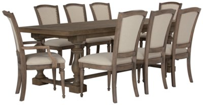 Image Of Haddie Light Tone Trestle Table U0026 4 Wood Chairs With Sku:9708745