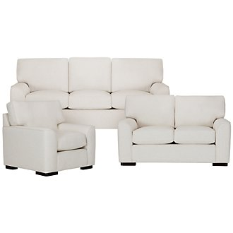 Austin White Fabric Living Room