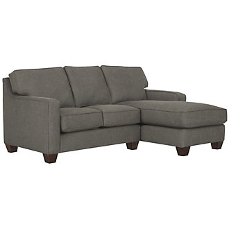 York Dk Gray Fabric Right Chaise Sectional