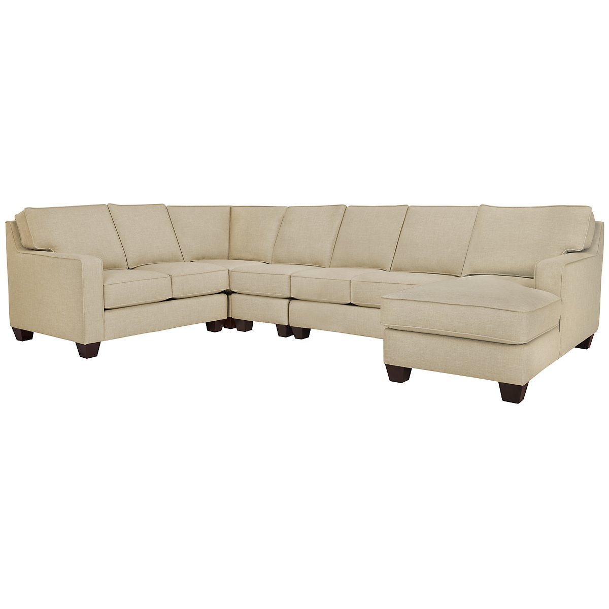 City furniture york beige fabric large right chaise sectional for Beige sectional with chaise