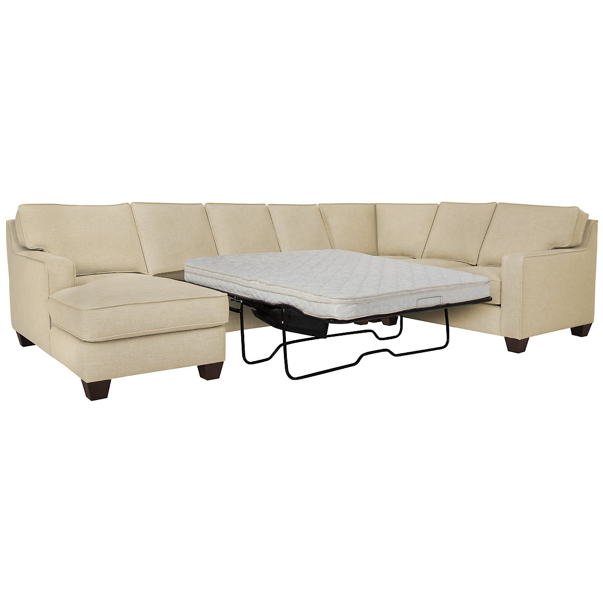 City furniture york beige fabric left chaise innerspring for Beige sectional with chaise