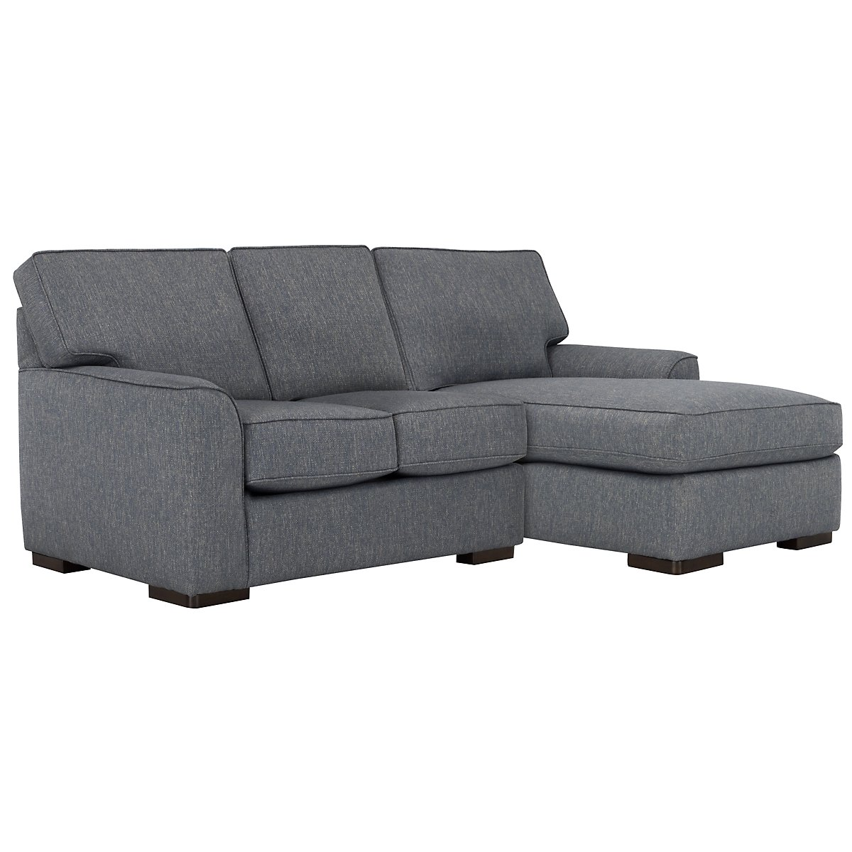 City furniture austin blue fabric right chaise sectional for Blue sectional with chaise