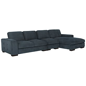 Easton Dk Blue Fabric Small Right Chaise Sectional