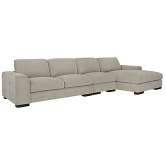 Easton Gray Fabric Small Right Chaise Sectional