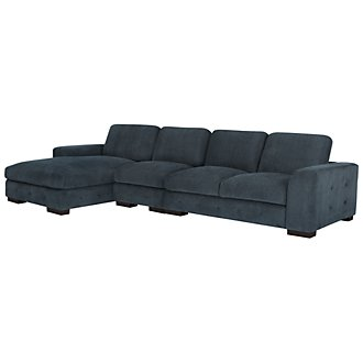 Easton Dk Blue Fabric Small Left Chaise Sectional