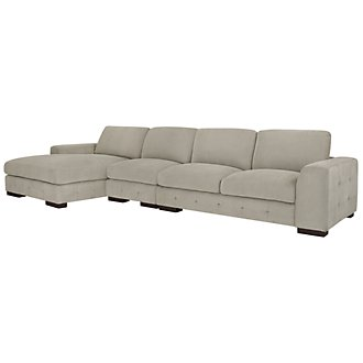 Easton Gray Fabric Small Left Chaise Sectional