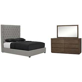 Rylan Light Tone Upholstered Platform Bedroom
