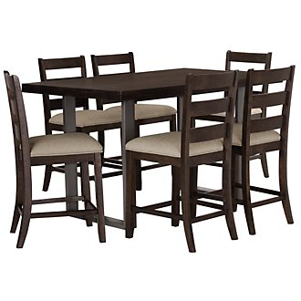 Sawyer Dark Tone High Table & 4 Wood Barstools