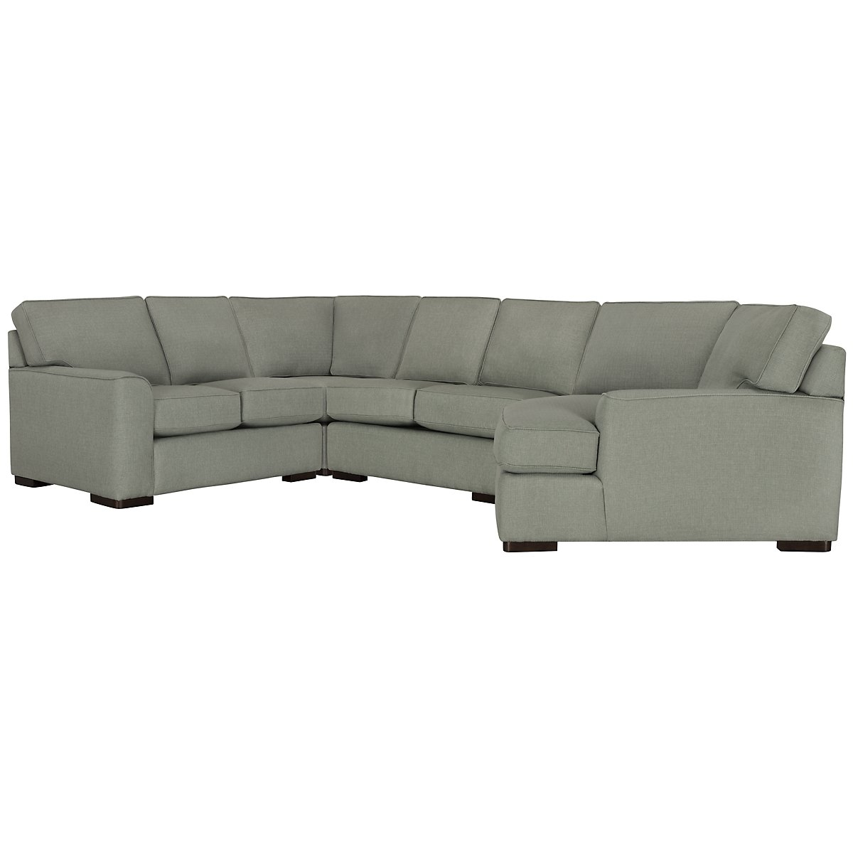 City furniture austin green fabric small right cuddler for Small sectional sofa with cuddler