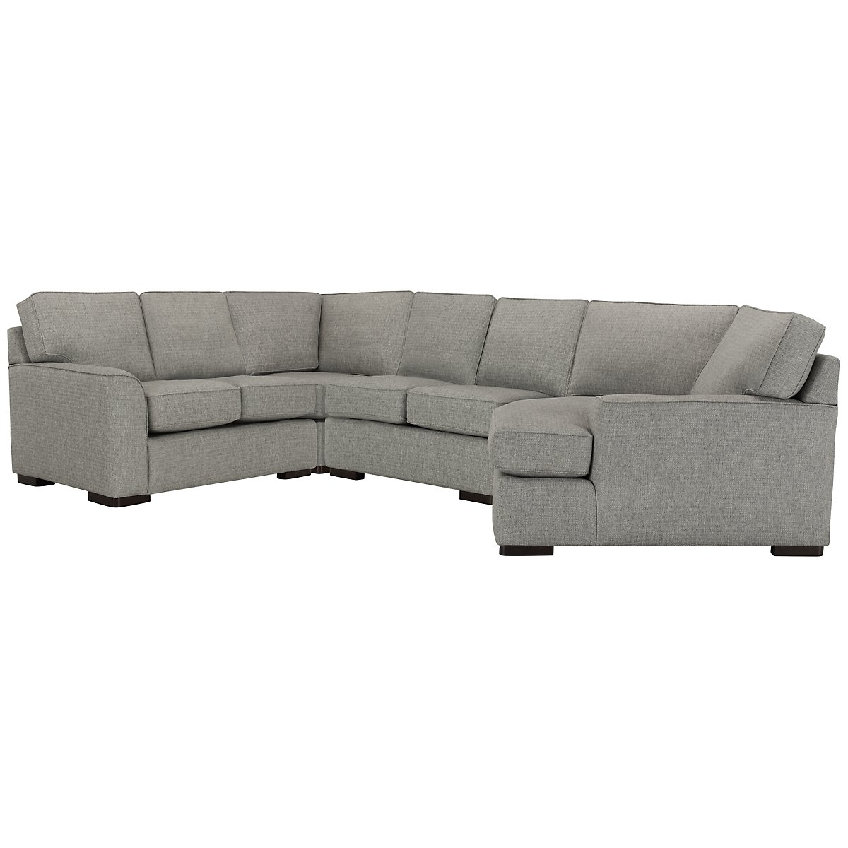 City furniture austin gray fabric small right cuddler for Small sectional sofa with cuddler
