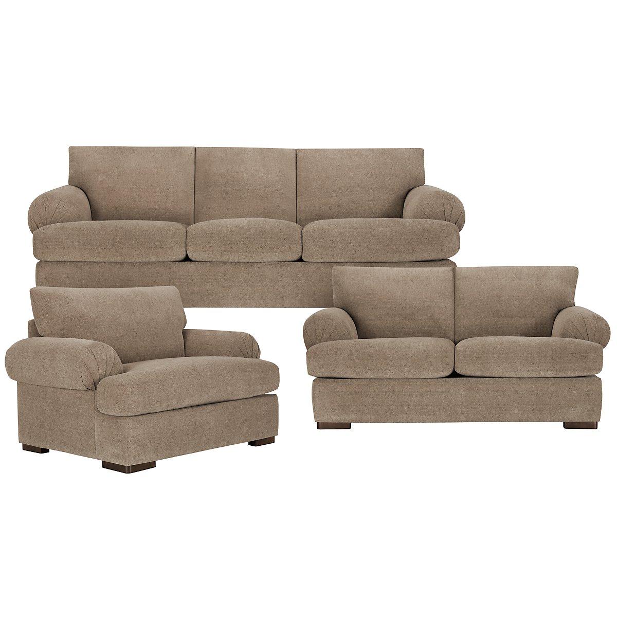 City furniture belair dk taupe microfiber sofa - Sofa loft taupe ...
