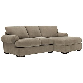 Belair Dk Taupe Microfiber Right Chaise Sectional
