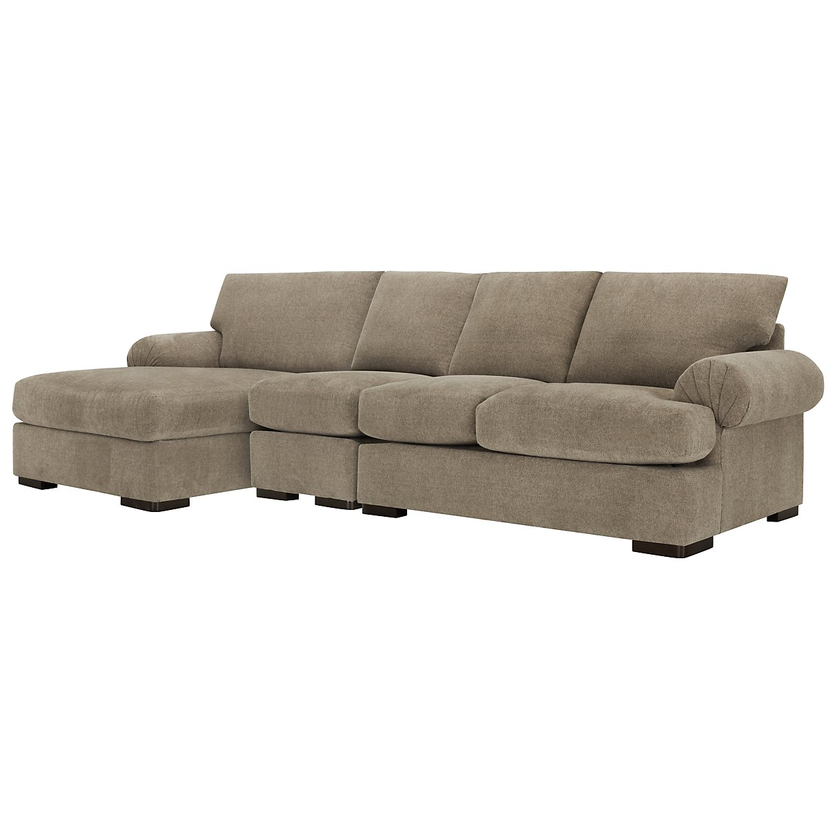 City furniture belair dk taupe microfiber small left for Brighton taupe 3 piece chaise and sofa set