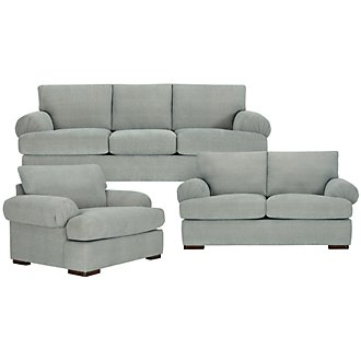 Belair Lt Blue Microfiber Living Room