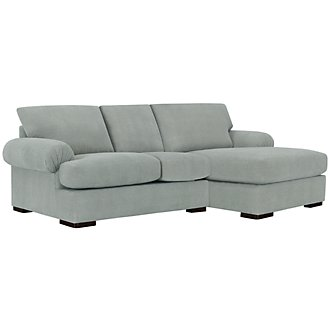 Belair Lt Blue Microfiber Right Chaise Sectional