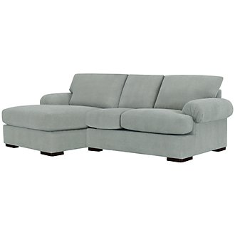 Belair Lt Blue Microfiber Left Chaise Sectional
