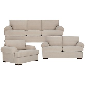 Belair Light Taupe Microfiber Living Room