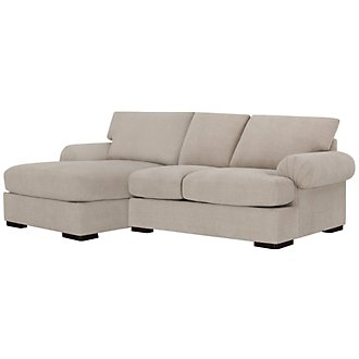 Belair Lt Taupe Microfiber Left Chaise Sectional