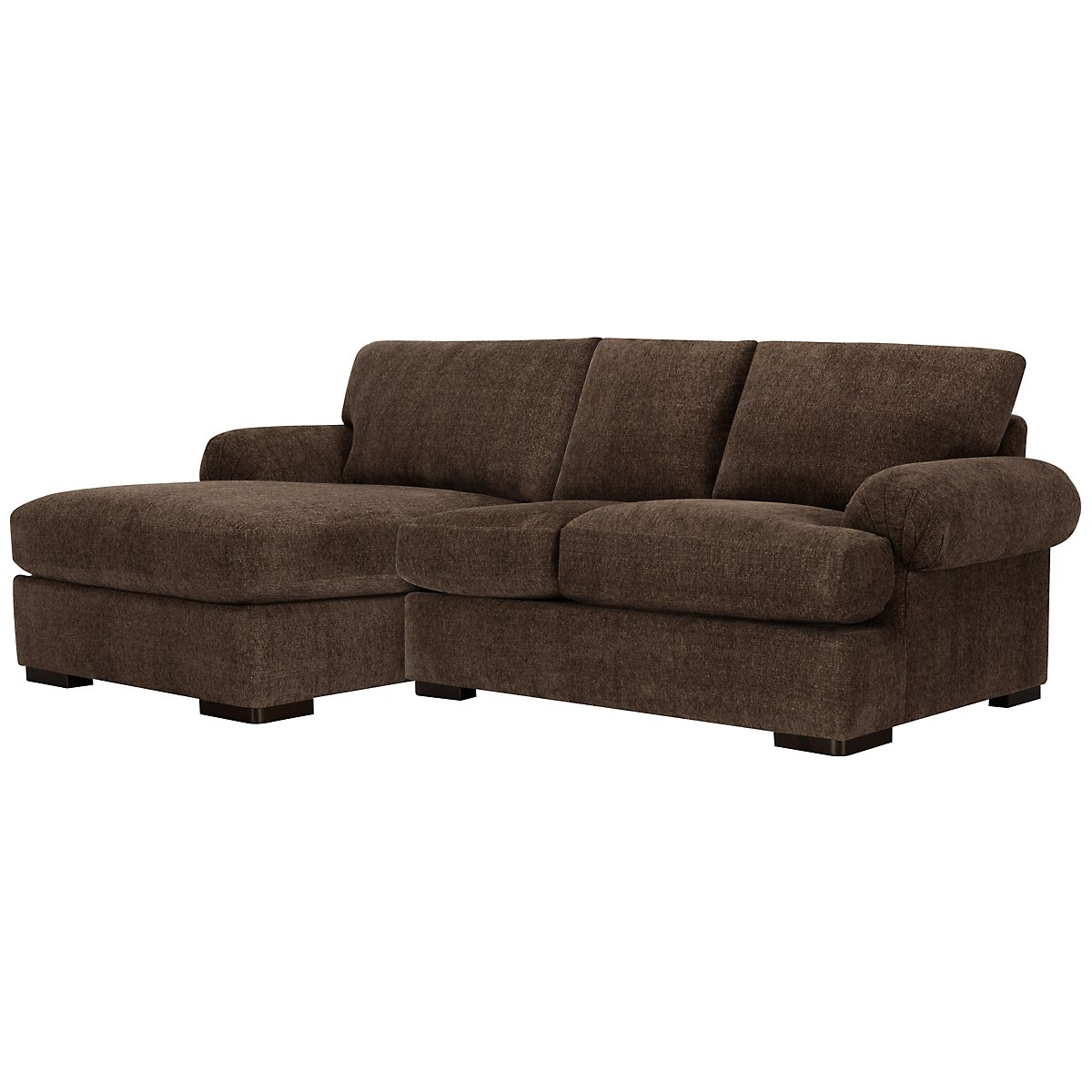 City furniture belair dk brown microfiber left chaise for Brown microfiber chaise lounge