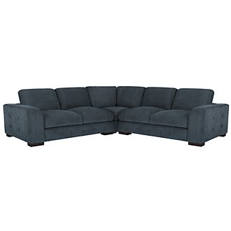 Easton Dk Blue Fabric Small Two-Arm Sectional