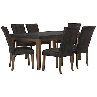Emmett Gray Rectangular Table & 4 Upholstered Chairs