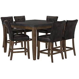 Emmett Gray Square High Table & 4 Upholstered Barstools
