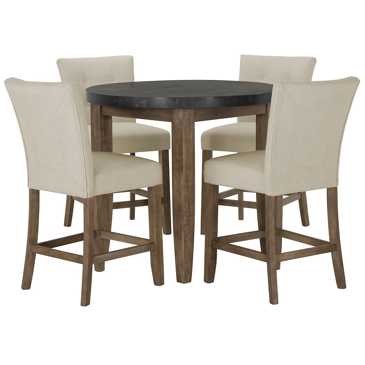 High Round Dining Table: City Furniture: Emmett White Round High Dining Table & 2