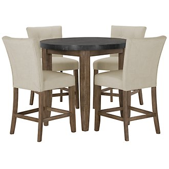 Emmett White Round High Dining Table & 2 Upholstered Barstools