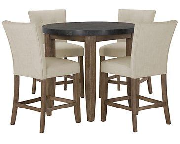 City Furniture Emmett White Square High Table 4 Upholstered Barstools
