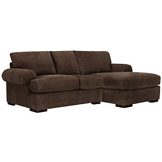 Belair Dk Brown Microfiber Right Chaise Sectional