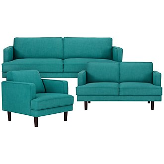 Bliss Teal Fabric Living Room