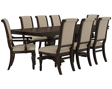 Sterling Dark Tone Trestle Table & 4 Upholstered Chairs