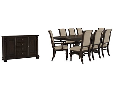 Sterling Dark Tone Upholstered Dining Room