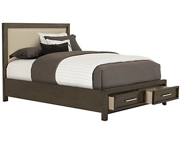 Omaha Gray Upholstered Platform Storage Bed