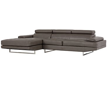 Loki Dark Gray Microfiber Left Chaise Sectional