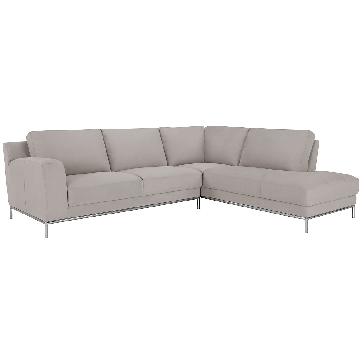 City furniture wynn lt gray microfiber right chaise sectional for Gray microfiber sectional sofa with chaise