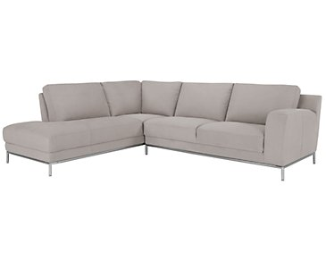 Wynn Light Gray Microfiber Left Chaise Sectional