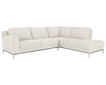Wynn White Microfiber Right Chaise Sectional