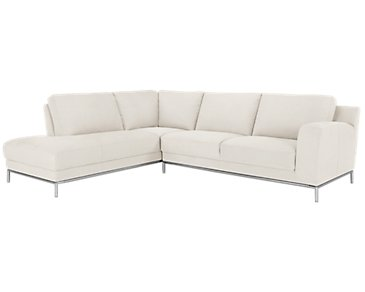 Wynn White Microfiber Left Chaise Sectional