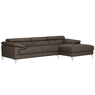 Dash Dk Gray Microfiber Right Chaise Sectional