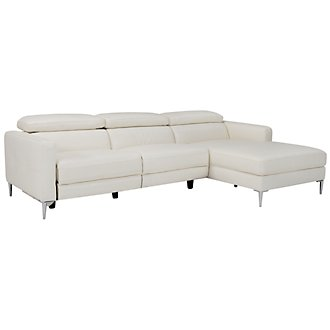 Zander White Power Right Chaise Sectional