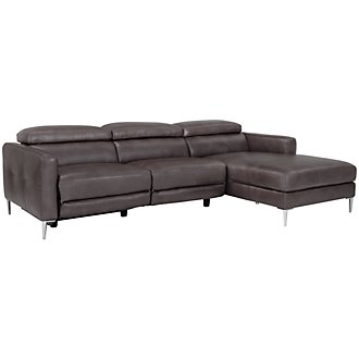 Zander Pewter Power Right Chaise Sectional