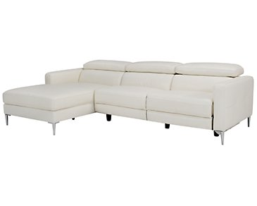 Zander White Power Left Chaise Sectional