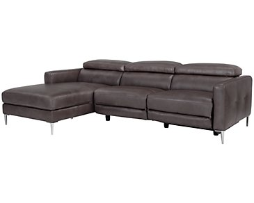 Zander Pewter Power Left Chaise Sectional