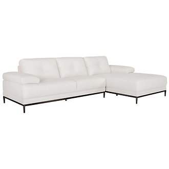 Vanni White Microfiber Right Chaise Sectional