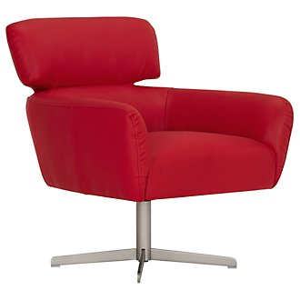 Vanni Red Microfiber Swivel Accent Chair