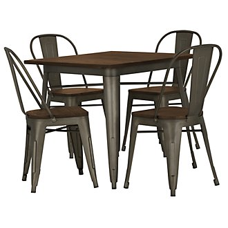 Huntley Dark Tone Square Table & 4 Wood Chairs