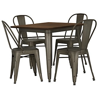 Huntley Dark Tone Square Table & 4 Metal Chairs