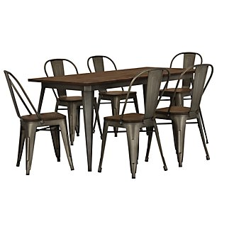 Huntley Dark Tone Rectangular Table & 4 Wood Chairs